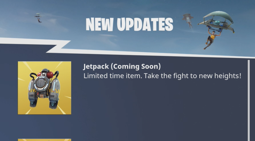 Jetpack CONFIRMED to be in Next Fortnite Update
